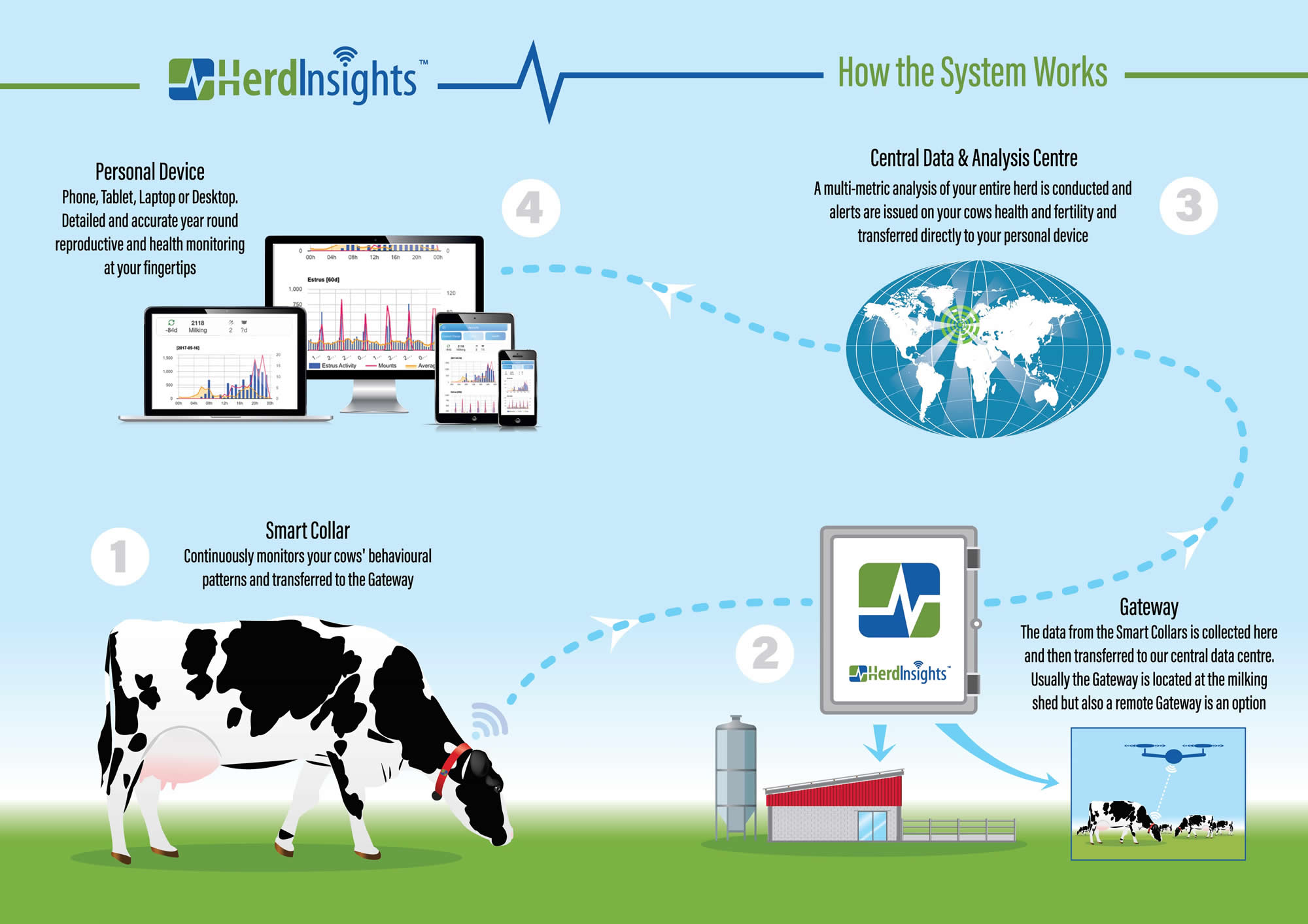A smart collar continuously monitors your cows' behavioural patterns, the data is collected and transferred to our data centre where we conduct a multi-metric analysis of your entire herd and issue alerts on your cows health and fertility directly to your phone.